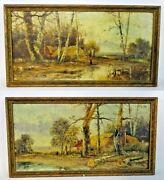 Antique Paintings Oil On Canvas Forest Landscapes Signed Pair Set Of Two