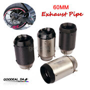 60mm Exhaust Pipe Shorty Muffler Tips Vent Tube For Universal Motorcycle Atv