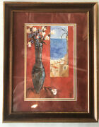 Didier Lourenco Signed Lithograph Flowers In Vase Double Matted Framed 23x18 Euc