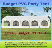 Party Wedding Tent Shelter Canopy With Waterproof Top - 32'x16' Budget Pvc White