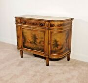Antique 1910s French Louis Xvi Mustard Painted Demilune Chest Console Table