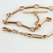 Antique 10k Rose Gold Victorian Watch Chain 12.5 Inches 1 Inch Fob Circa 1890