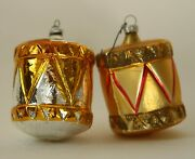 Antique Drum Figural Embossed Feather Tree German Glass Christmas Ornaments Vtg