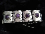 Massive, Museum-quality Art Deco 980 Silver/amethyst Taxco Bracelet And Ring Set