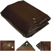 Heavy Duty Tarp Poly Canopy Tent Shelter Cover 16 Mil Waterproof Brown Tarpaulin
