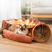 Pet Cats Tunnel Cat Toys Bed Interactive Play Toy Tube Collapsible Ring Bell New