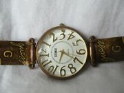 Gitano Watch Brown Buckle Guess Band Round White Face Prismed Crystal