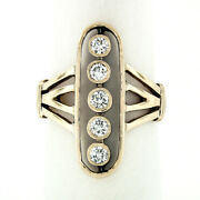 Vintage 14k Rosy Yellow Gold 0.60ctw Old Cut Bezel Diamond Elongated Oval Ring