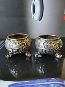 A Pair Of Antique Chinese Export Silver Pot Censer With Marks