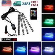 Car Neon Accent 5050 Smd Strip Light 48 Led Multicolor Music Interior Atmosphere