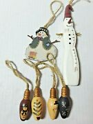 Country Christmas Decor 6 Wooden Snowman Tree Ornaments Bulbs Rustic Primitive