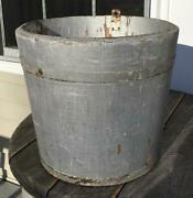 Vintage New England Wooden Old Painted Silver Over White Stave Sap Bucket 2 Band
