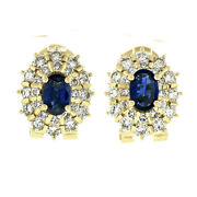 Estate 18k Yellow Gold 2.70ctw Oval Sapphire Diamond Double Tiered Halo Earrings
