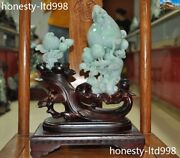 14 China Natural Emerald Green Jade Jadeite Carved Peach Fruit Lucky Statue Set
