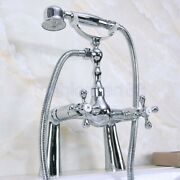 Polished Chrome Deck Mounted Clawfoot Bath Tub Faucet With Hand Shower Fna128