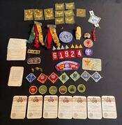 Lot Of Vintage Boy Scout Items-pins, Badges, Cards,patches, Hand Ring And More