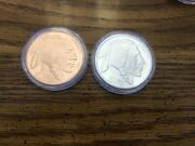 Pair Of 1oz .999 Silver And Copper Rounds - Buffalo Nickel Design - Golden......