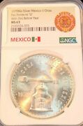 1979 Mexico Silver 1 Onza Dot Before Year Ngc Ms 63 Very Scarce Variety