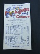 Al.g. Barnes And Wild Animal Circus Official Route Card California 1935