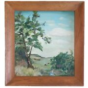 Western Landscape Painting By M Lehman 1958 Pastoral Cattle Signed In Wood Frame