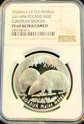 2011 Poland Silver 20 Zlotych Animals Of The World Badger Ngc Pf 69 Ultra Cameo
