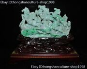 Chinese 100 Natural Jadeite Emerald Jade Carved Fengshui 8 Horse Steed Statue