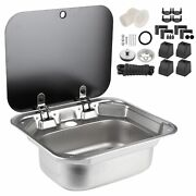 New Stainless Steel Sink Foldable Kitchen Single Basin With Tempered Glass Lid