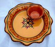 Home And Garden Party Tuscan Home Chip And Dip Bowl Set Excellent Condition