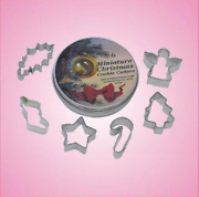 Mini Christmas Cookie Cutter Set 6 Piece Holly Leaf Stocking Star Candy Cane Diy