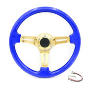 350mm 14and039and039 Blue Universal Racing Abs Steering Wheel Fits 6 Hole Car Adapters