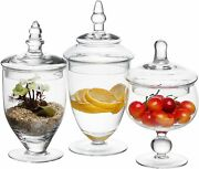 Small Clear Glass Apothecary Jars, Wedding Centerpiece, Candy Storage Bottles