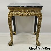 Antique Chinese Gold Gilt Figural Carved Wood 30 Accent Side Occasional Table