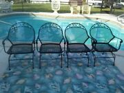 Vintage Russell Woodard Sculpture Wire Spring Recliner Patio Chair Set Of 4