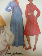 Vtg 80and039s Mccalland039s 7660 Smocked Smocking Front Long Dress Sewing Pattern Women