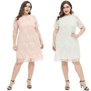 Womens Plus Size Casual Skirt Lace Evening Cocktail Dress Short Sleeve Clothing