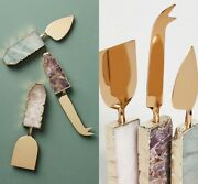 New Anthropologie Agate Cheese Knives Gold Stone - Set Of 3