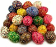 D Religious Gifts Assorted 50 Pc Colorful Wooden Ukrainian Easter Pysanky Eggs