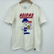 Adidas Mens Graphic Skateboarding Baked And Fried T-shirt White 100 Cotton Tee L
