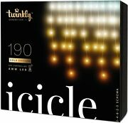 Twinkly 190 Leds App Controlled Smart Decorations Icicle Light - Gold Edition