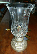 Waterford Crystal Lismore 11 Hurricane Accent Lamp With Silver Toned Base