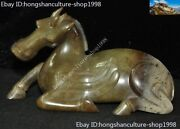 China Hetian Jade Hand-carved Zodiac Animal Success Horse Steed Fengshui Statue