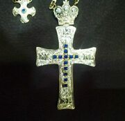 925 Sterling Silver With Zircon Stones Pectoral Cross Pendant Christian Clergy