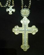 925 Sterling Silver Pectoral Cross With Zircon Stones Pendant Christian Clergy