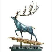Fengshui Home Decoration Copper Hand-painted Spotted Deer Plum Blossom Deer