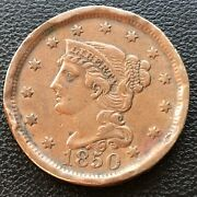 1850 Large Cent Braided Hair One Cent 1c High Grade Xf Details 28502