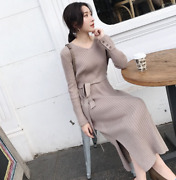 Womens V-neck Wool Knitted Sweater Dresses Belted Thick Slit Long Skirt Hot Sale