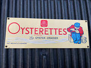 1990 Nabisco Oysterettes Porcelain Tin Metal Sign 14andrdquox5andrdquo Ande Rooney