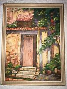 Vintage Italy Landscape Hand Painted Original Oil Painting By Evans