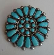 Vintage Zuni Indian Silver And Needlepoint Turquoise Round Pin Pendant Sgnd J Mix