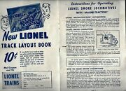 2 Vintage 1950's Lionel Trains Papers - Lubricant Guide And Smoke Engines - Vg